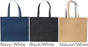 Colours Available for Davington Jute Contrast Promotional Tote Bag