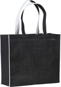 Davington Jute Promotional Tote Bag with Contrast Stripe, from The Notebook Warehouse.