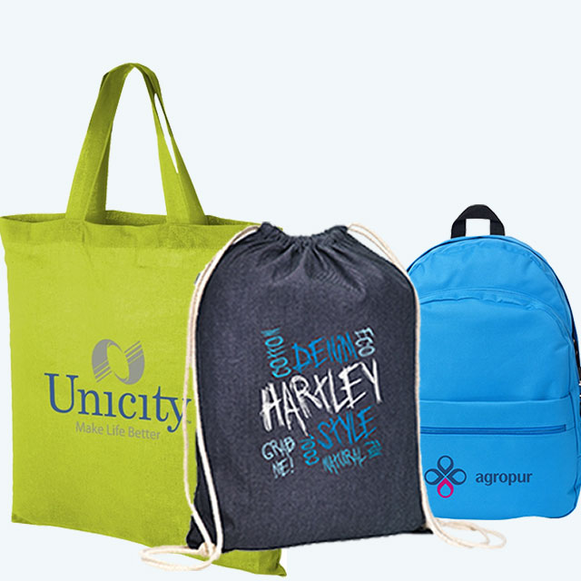 Image showing a range of Company Branded Bags with multi-coloured printed logos from The Promobag Warehouse