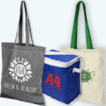 Image showing a range of Company Branded Bags with a single colour printed logo from The Promobag Warehouse