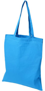 Image Showing Madras Company Branded Tote Bags in Process Blue from The Promobag Warehouse