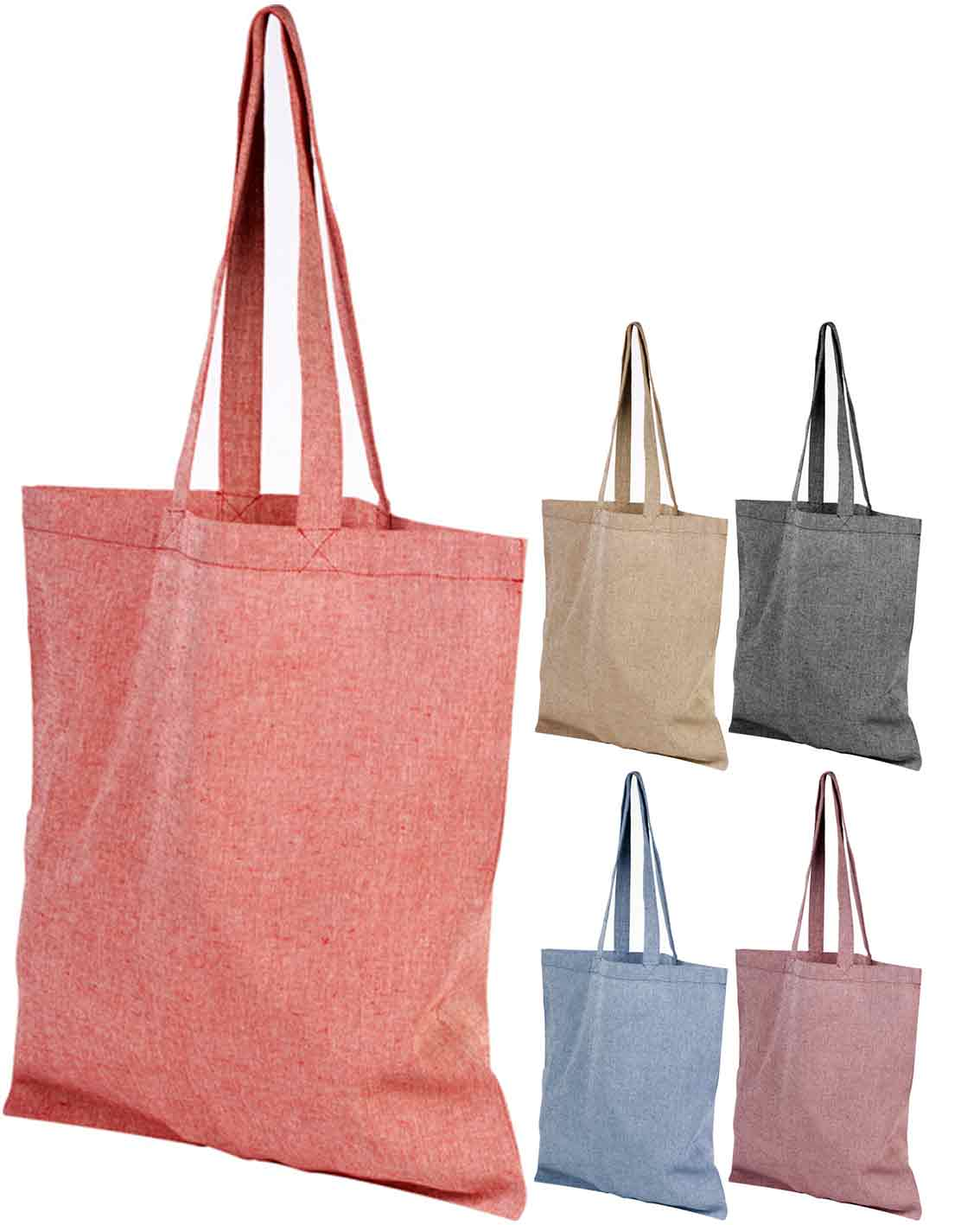 Group image of Pheebs Branded Recycled Tote Bags. Available in 5 Colours from The Promobag Warehouse